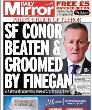 Front page of the Daily Mirror on Friday
