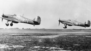 Hurricane fighter planes during Battle of Britain