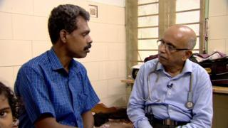 Dr MR Rajagopal with a patient in a clinic