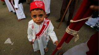 An Egyptian Sufi Muslim boy celebrates the New Islamic Hijri year 1438 in old Islamic Cairo, Egypt - Sunday 2 October 2016