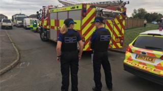 Police cordon in Newbold Coleorton, Leicestershire