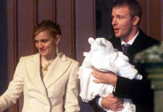 Madonna, Guy Ritchie and baby Rocco seen leaving Dornoch Cathedral in Scotland in 2000