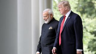 U.S. President Donald Trump and Indian Prime Minister Narendra Modi walk from the Oval Office to deliver joint statements in the Rose Garden of the White House June 26, 2017 in Washington, DC