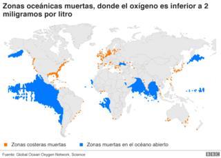 Mapa con la zonas muertas del mundo
