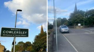 The road sign in Linthwaite before and after its removal