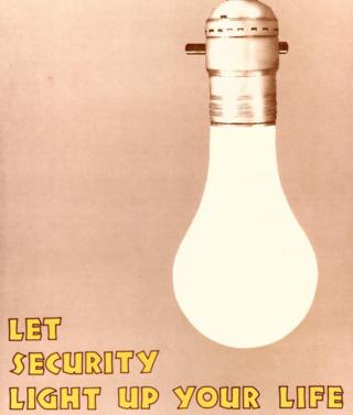 """Let security light up your life"" - an NSA poster featuring a lightbulb"