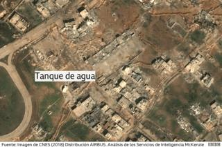 Imagen satelital muestra el daño a una torre de agua en Guta Oriental, Siria