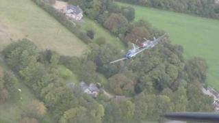 Mustangs colliding at Duxford air show
