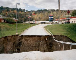 Sinkhole in road