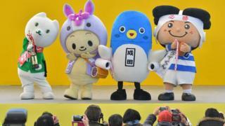 The winners of the Yuru Chara Grand Prix mascot competition