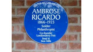 Ambrose Ricardo: Blue plaque for Sion Mills war hero