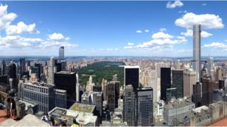 View from the Top of the Rock Observation Deck on 24 July 2015 showing the skyline of Manhattan, including central park