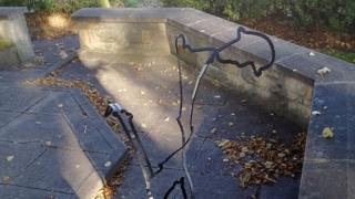 Damaged artwork at New Elgin War Memorial