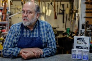Keith Carey in his Montrose gunsmithing workshop