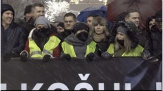 Opozicioni lideri na protestu u Beogradu