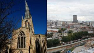 St Mary's Church in Chesterfield and Sheffield skyline