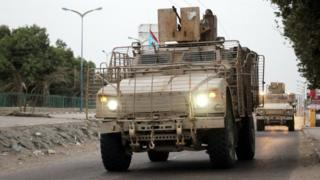 Separatist forces patrol the streets of Aden, Yemen