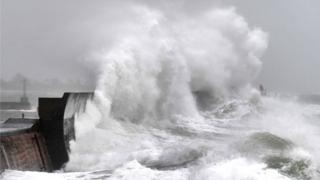 in_pictures High waves at a jetty in Plobannalec-Lesconil in Brittany, France, 9 February 2020
