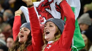 Two Welsh rugby fans celebrate
