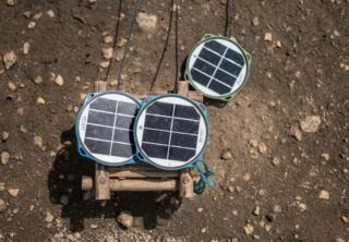 Solar panels donated by an aid agency