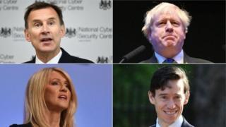 Uhereye hejuru ibumoso ujya iburyo: Jeremy Hunt na Boris Johnson; hasi uhereye ibumoso ujya iburyo: Esther McVey na Rory Stewart - bose bamaze gutangaza ko bazahatanira ubuyobozi bw'ishyaka rya Conservative