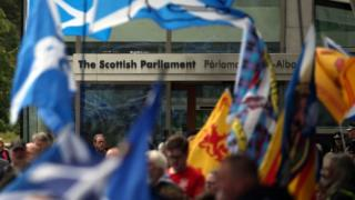 Scottish parliament flags rally