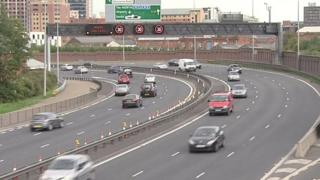 The spill is affecting motorway traffic and the Westlink in Belfast