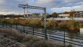 Flooded rail tracks around the New York Stadium in Rotherham