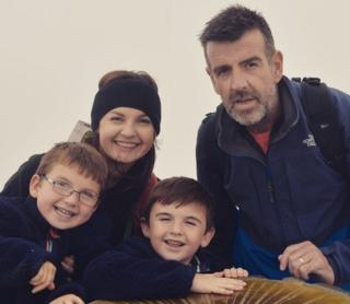 Becky and Irfon Williams with their two sons