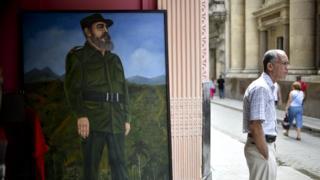 Cuadro de Fidel Castro en La Habana, Cuba.