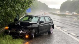 A car crashed on the M4