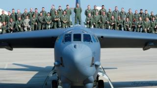 B-52 with crew