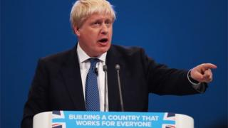 Boris Johnson giving speech at Conservative conference