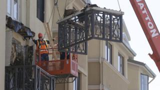 Scene of balcony collapse