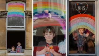 Children and their rainbow paintings