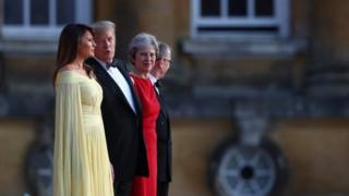 (l-r) Melania Trump, Donald Trump, Theresa May, Philip May