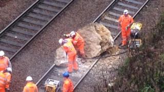Boulder on the tracks between Gloucester and Swindon