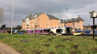 The burnt out canal boat