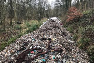 The pile of waste in Gladings Wood