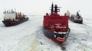 Russian cargo ships and icebreaker on the Northern Sea Route (2001 file pic)