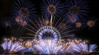 Fireworks in London for New Year's Eve