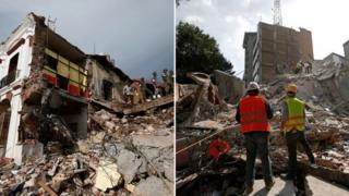 Composición de imágenes del terremoto del 7 de septiembre (izquierda) y del 19 de septiembre (derecha).