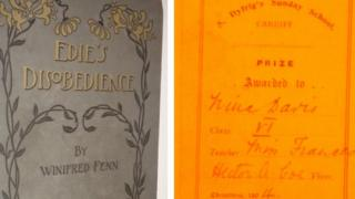 The front cover of Edie's Disobedience and the note inside