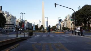 A view on an empty bus lane during the general strike in Buenos Aires, Argentina, 25 June 2018