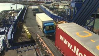 Lorries loading in Holyhead