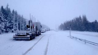 Snow on the A9 south of Inverness on Wednesday morning