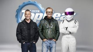 Matt LeBlanc with Chris Evans and 'The Stig'