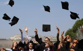 Mortarboards being thrown
