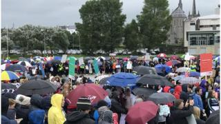 A crowd at the We Deserve Better rally in Enniskillen