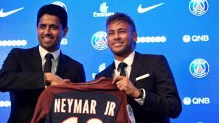 PSG Başkanı El Khelafi ve Neymar